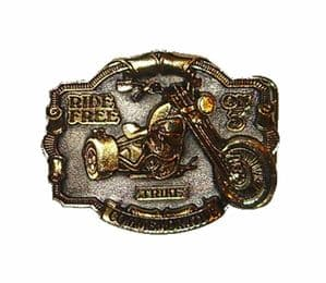 Trike - Ride Free on 3 - 24ct Gold and Silver Plated Belt Buckle with display stand