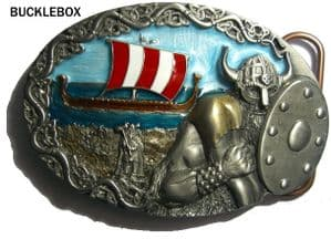 Viking Ship belt buckle + display stand. Code BE5