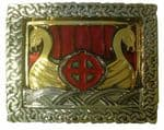 Viking Ship Gold and Silver Plated Belt  Buckle with display stand. Code PA6