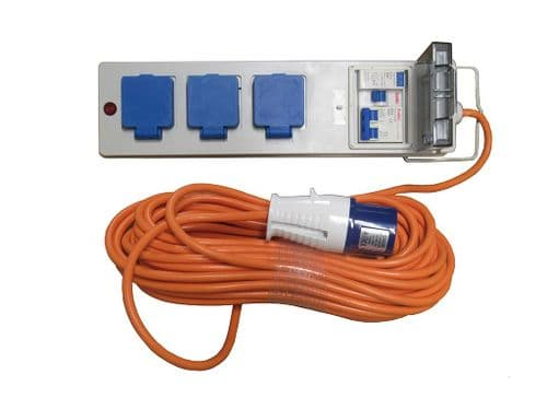 20 Metre Mobile Mains Hook Up Cable With 3 UK Plug Sockets - Caravan Camping