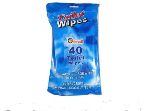 Antibacterial Toilet Cleaning Wipes (Large Extra Strength Flushable Kills Bacteria) x40