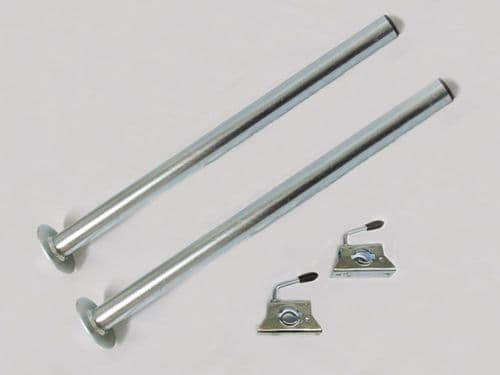 Caravan Leg Support Tubes With Clamps 34MM x 600MM X2 (Trailer Prop Stand)