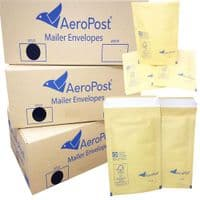 Aeropost Gold Bubble Lined Envelopes Bags 180 x 215mm Size DVD